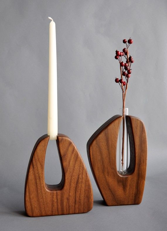 Sculptural candleholder---or vase! Solid American black walnut with hand-rubbed oil finish, with glass test tubes