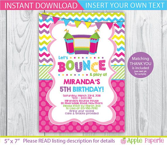 bounce house birthday / Bounce House invitation / by ApplePaperie