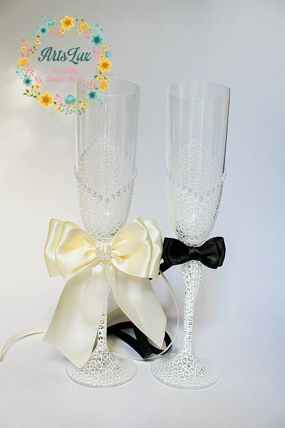 Ivory Charming Wedding champagne glasses  Hand painted by ArtsLux / you have to get a closer look to see detail