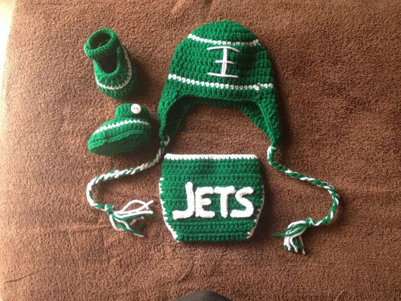 Crochet baby football outfit New York Jets by Micheleshobbie