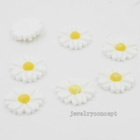 50pcs New White Chrysanthemum Shape Charms Resin Patch For Boutique Gifts J