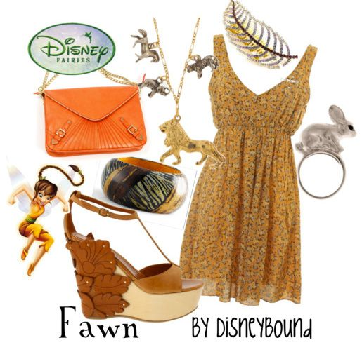 """""""Fawn"""" ~ Based on Disney's lovable animal fairy with charm, comes this cheery spring outfit that even the delightful fairy herself would approve of. Designed by Leslie Kay or also known as the designer of Disneybound outfits. Can be found on Polyvore or her personal shop or tumblr account."""