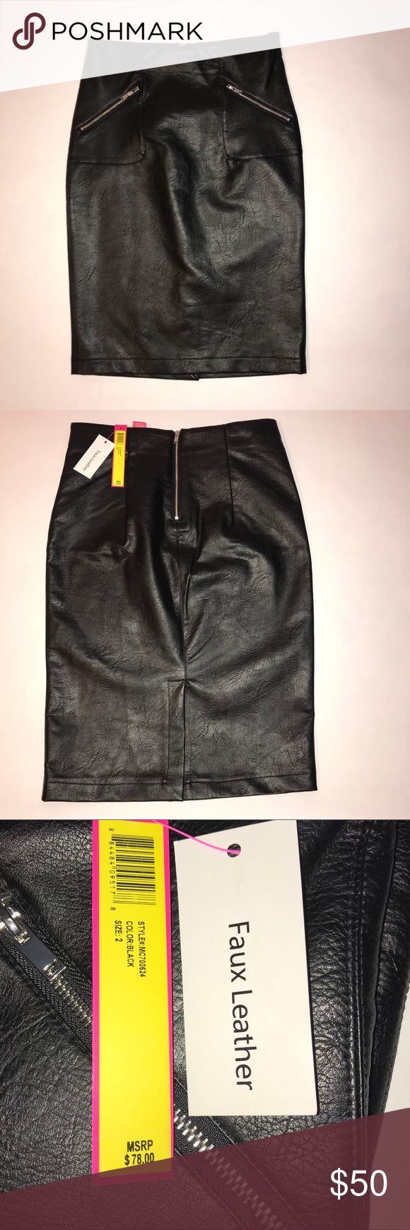 """Catherine Malandrino faux leather pencil skirt NWT Beautiful black faux leather Catherine Malandrino pencil skirt, size 2, NWT, has 2 stylish zippers on front of the skirt, and zipper on the back, and a 7.5 inch slit on back. Measurements are : waist is 15"""", across the hips is 18.75"""", and top to bottom 24.5"""" Catherine Malandrino Skirts Pencil"""