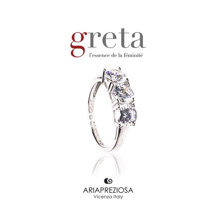 Greta - Trilogy in Argento 925‰ Rodiato con Zirconi taglio brillante (Cubik Zirconia) incastonati