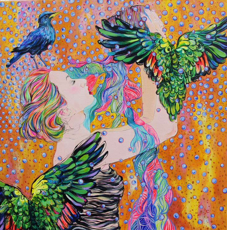 Katerina Apale Parrots, acrylic on canvas, 2016 facebook.com/katerina.apale.art  Instagram Apale.art #katerinaapale #apaleart #parrots #wings #painting #australianart #artist