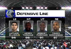 Detroit Defensive Backs   Detroit Lions Defensive Line:  #94 Luther Ellis #98 Henry Thomas #91 Robert Porcher #97 Tracy Scroggins  9/25/95  NFL