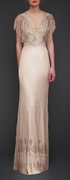 grooms dinner dress!!! 25 Dazzling Art Deco Wedding Gowns on buzzfeed. I am in love with the neckline, the sleeves and the silhouette.