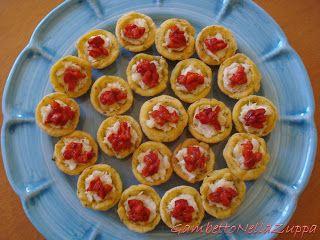 Gambetto nella Zuppa: Crostatine matte di baccalà mantecato con peperone rosso