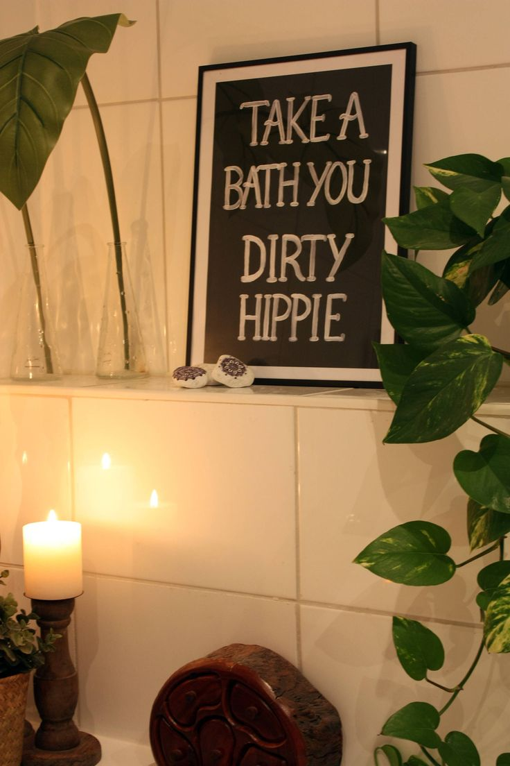 Take a bath you dirty hippie – poster – A3 – Boho art – Wall decor – Gallery wall – Wall sign – Art print – Quote – Housewarming gift – Home
