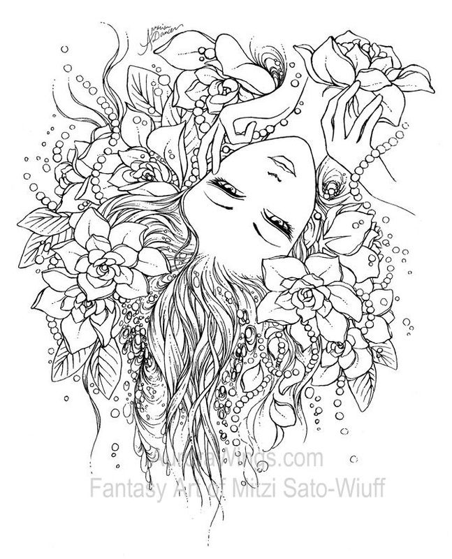 coloring book 1 aurora wings fantasy art of mitzi sato wiuff - Fantasy Coloring Pages Adults