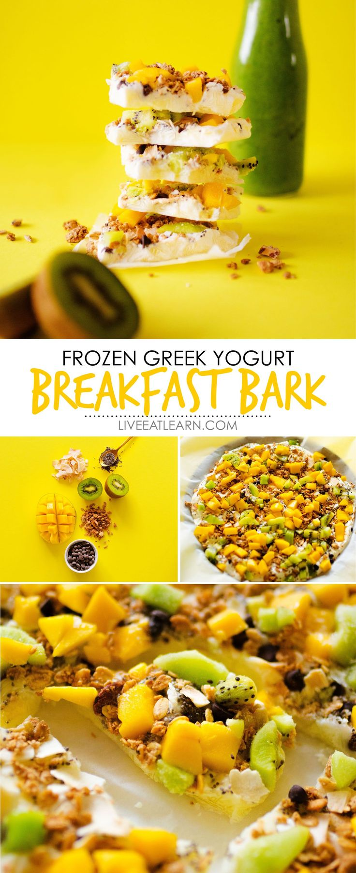 This Frozen Greek Yogurt Breakfast Bark recipe is a quick and healthy vegetarian breakfast recipe thats super flexible (and tasty!) Meal prep it at night and serve it in the morning for a high protein breakfast that will keep you energized all morning. via @live_eat_learn