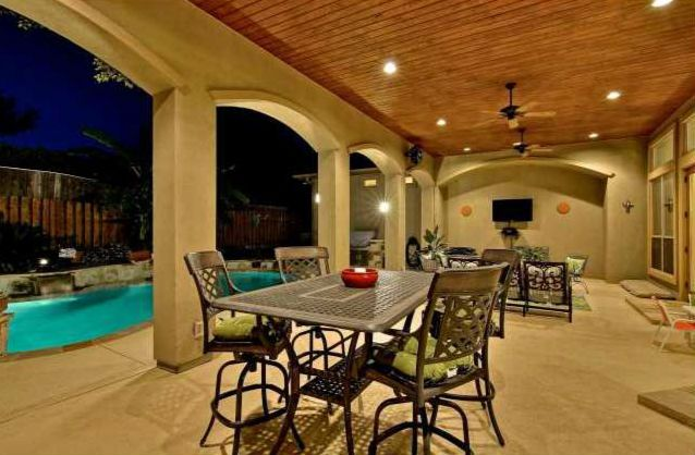 Arch, outdoor living, covered patio, tongue and groove ...
