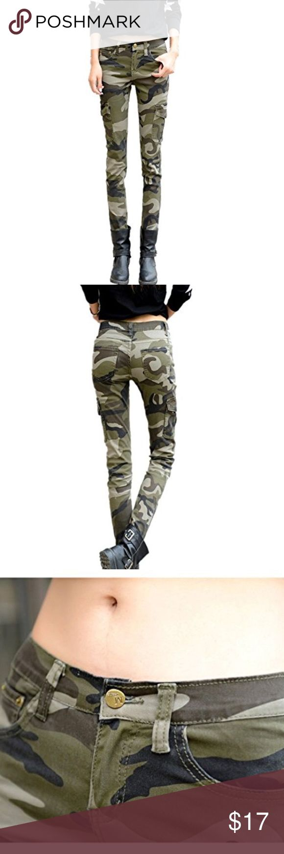 """NASKY's Women's Camo Army Slim Stretch Jeans """"Soft Stretch denim fabric printed with vintage camouflage  Featuring button fastening with 6 pockets front, back and leg. This Versatile piece is deal for everyday wear, with sandals, t-shirt and sunglasses for a laid back day look""""  Color: Camo Size: US 4 Condition: Like new / Only worn once   Pants turned out to be super comfortable and good quality fabric. I was pleasantly surprised with it having purchased it off Amazon for the first time…"""