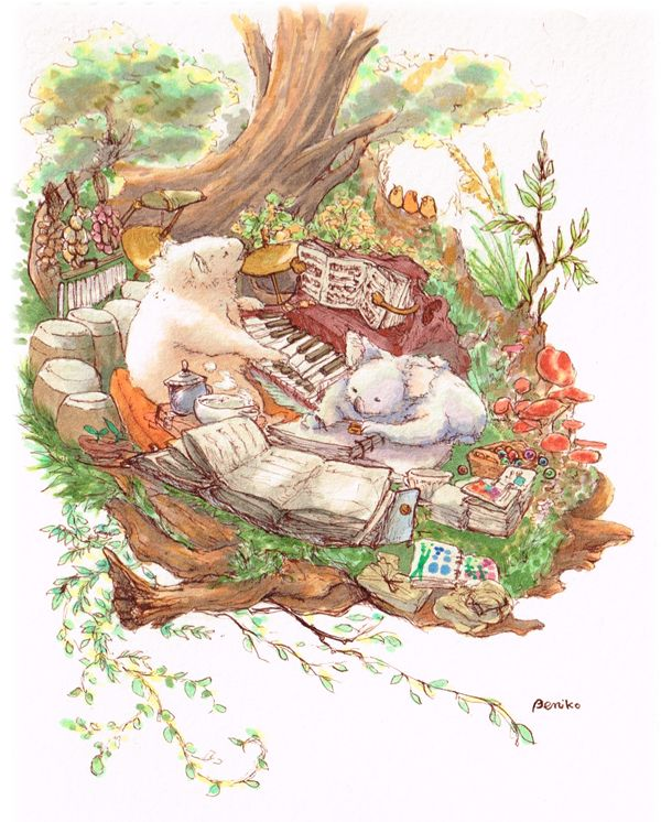 コアラ、チワワ、きのこ、木、鳥、ピアノ、作曲、楽譜