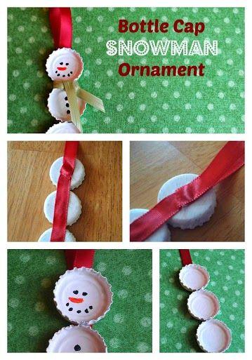 Adorable snowman bottle cap kids craft.