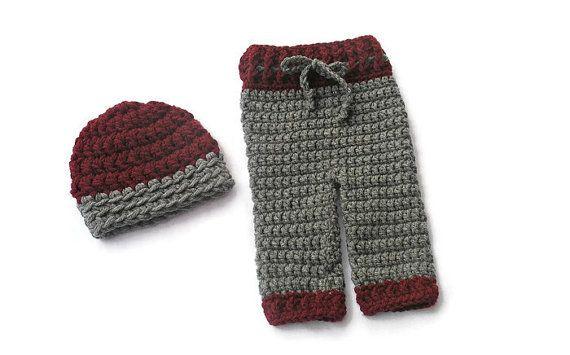 Crochet Newborn Boy Pants and Hat Baby Boy by DeesCozyCreations