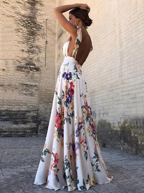 Backless Print Dress