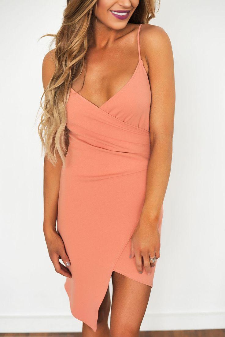 Salmon Bodycon Dress - Dottie Couture Boutique