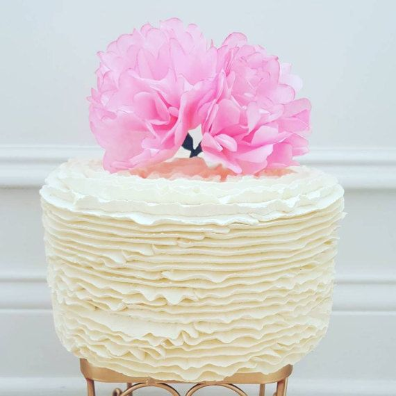 Hot Pink Peony Paper Flower Cake Topper by PaperHeartBlooms