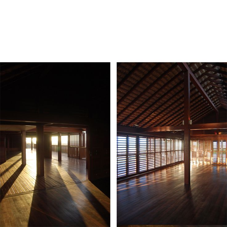 Behbahani Hall Architects / Beach House Preà, Brazil / Light and shadow, sliding timber shutters, courtyard, timber deck, palm thatch roof, rooflight,  sea view