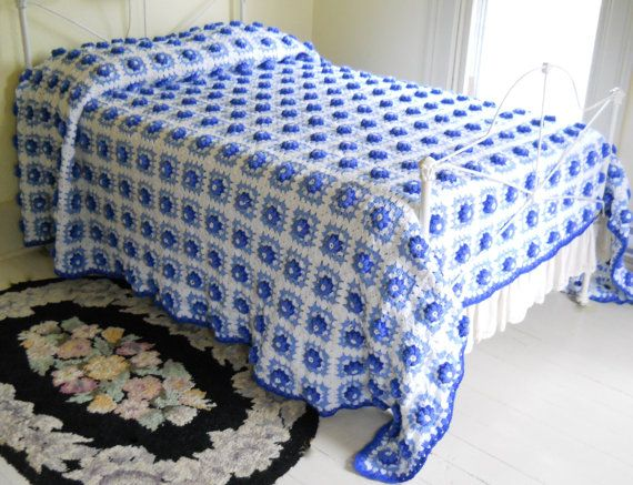 vintage afghan bedspread king size blanket by - King Size Blanket