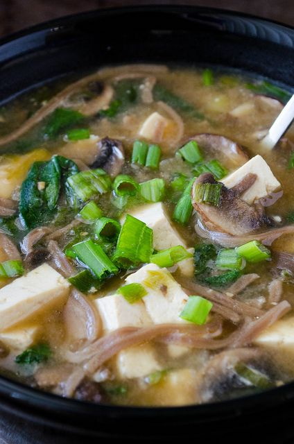 Miso Soba Noodle Soup:a hearty winter soup. The fat   soba buckwheat noodles,  tofu,  spinach and roughly chopped mushrooms make this Japanese-style soup extra filling but the miso paste, scallions, and soy sauce help keep the flavors light and bright. Perfect. 10/10