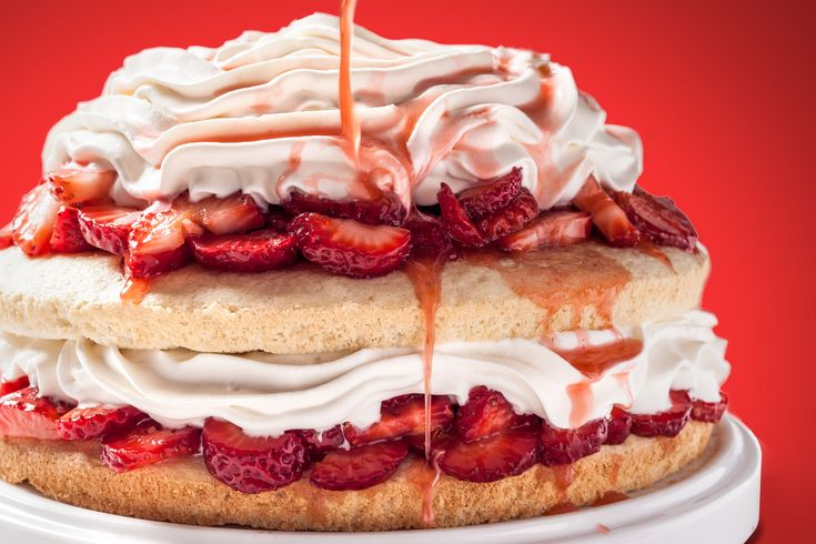 A rich strawberry shortcake layer cake recipe. You will need to make vanilla chiffon cake for this recipe, then layer with strawberries and whipped cream.