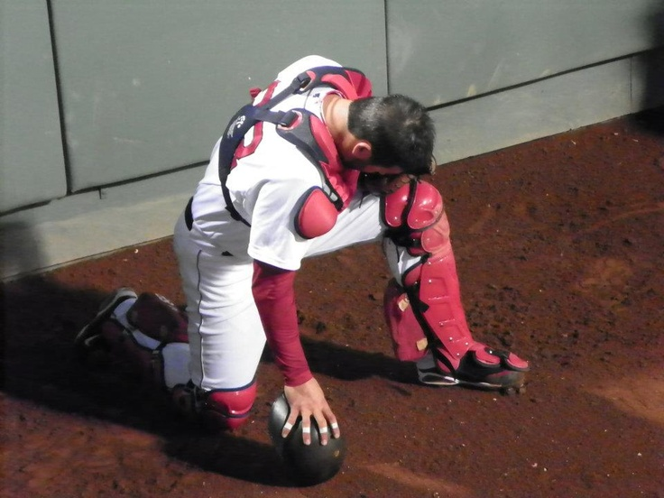 Jason Varitek in the bullpen during his last game at Fenway.  Picture taken by yours truly.