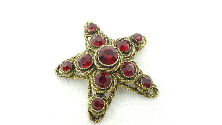 Har Signed Large Red Rhinestone Star Brooch Dramatic and Rich Rare #jewellery #etsyseller