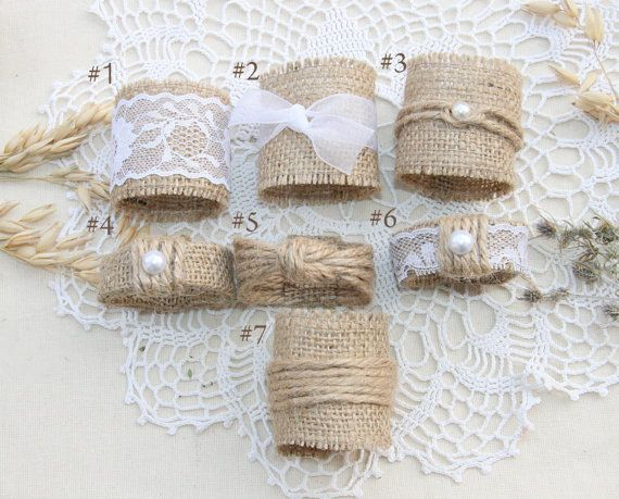 Burlap Wedding Napkin Rings Rustic Wedding Decor by FriendlyEvents