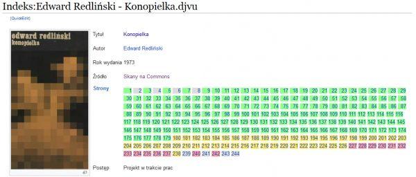Indeks książki z listą stron i stanem ich przerobienia od zielonych (przerobione), po czerwone (nieprzerobione).