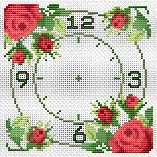 CrossStitch Chart #10 Roses - CrossStitchClocks.com