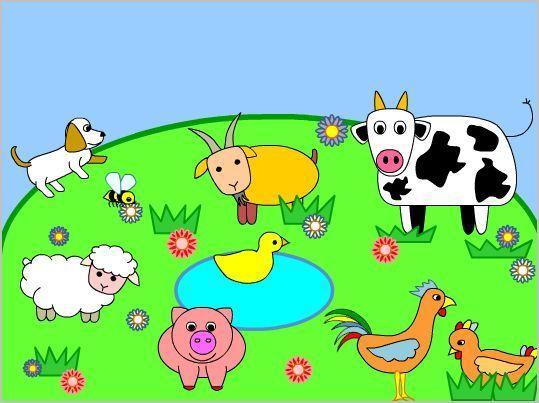 Γνωρίζω τα ζώα, τους ήχους και τις λέξεις παίζοντας  Τα παιδιά έχουν την ευκαιρία μέσα από αυτό το online παιχνίδι να γνωρίσουν την κατσίκα , την αγελάδα , τον κόκκορα, την κότα, την πάπια, το γουρούνι , το πρόβατο, το σκυλάκι και τη μέλισσα. Κάνοντας κλικ επάνω σε κάθε ζωάκι ακούμε τον ήχο που κάνει το καθένα ενώ παράλληλα βλέπουμε την ονομασία του στο άσπρο σύννεφο στο επάνω μέρος της οθόνης.