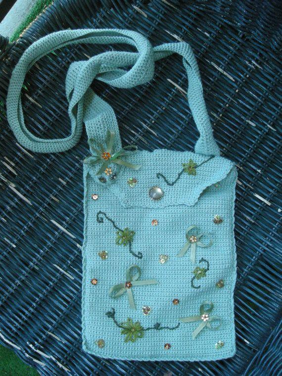 Crochet purse, Purse, Embroidery, Crochet, Beading, Green purse, OOAK, Holiday purse, Handmade by CelinaRoseDesigns on, $20.00
