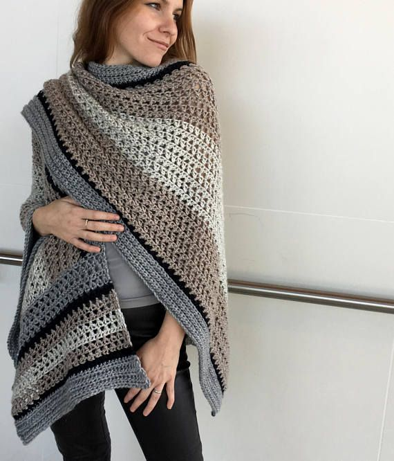 Crochet Ruana PATTERN Crochet Poncho Pattern Large Wrap Crochet New Crochet Ruana Pattern