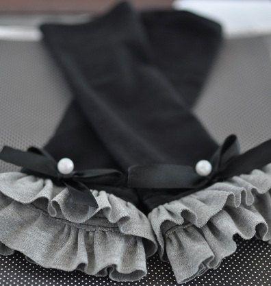 Black Knit Ruffle Leg Warmers / Baby Girl Leg by LilDimples, $15.00