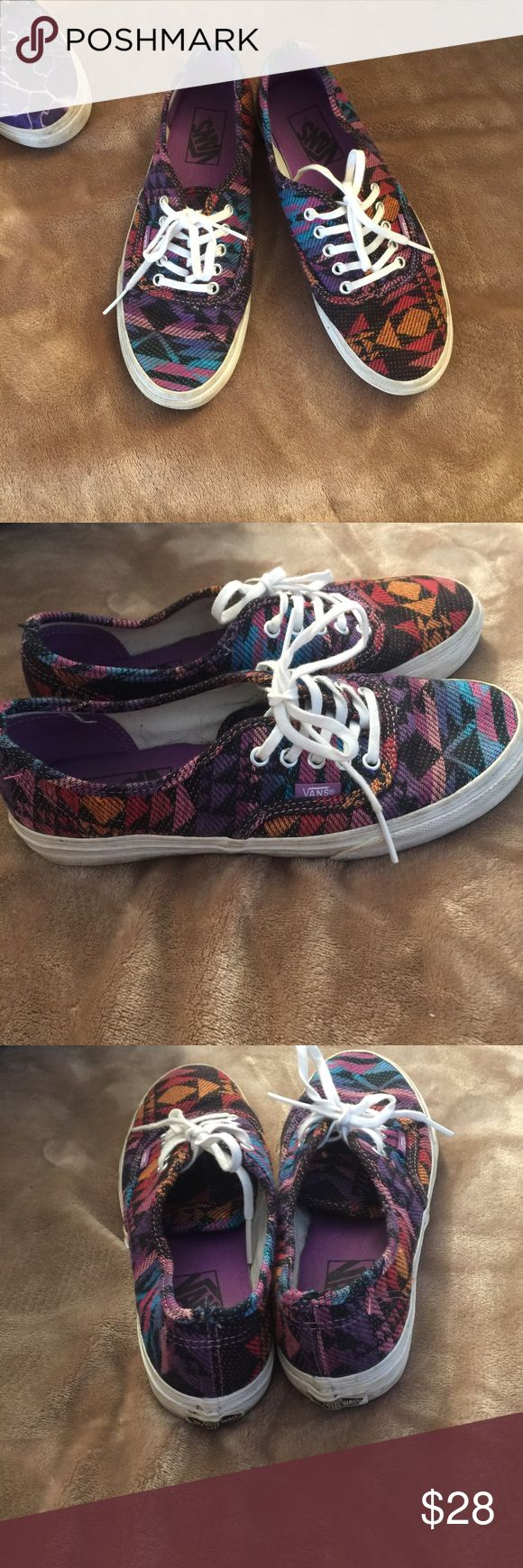 Sale 🎉 Vans shoes Aztec vans -- size 7 🤙🏼 Oranges, blues, purples, & black!  Good condition, just needs a cleaned up in the white part, only worn a few times.  (Most shoes posted only worn one - four times) Bundle any two pairs of shoes get $11 off! 💕 Vans Shoes Sneakers