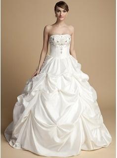 Corte de baile Sin tirantes Hasta el suelo Tafetán Vestidos de novia con Bordado Bordado (002014716)