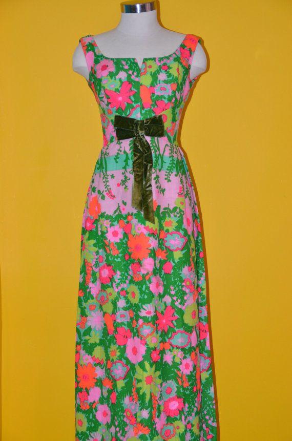 Custom Tailored Pink Green Orange Vintage Estate Maxi by KuratedKE