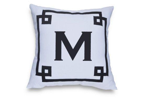 Monogram Throw Pillow Cover Custom Monogrammed by AmoreBeaute