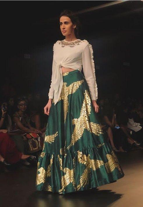 Beautiful Lehenga with western cut blouse with modern silhouettes and  superb embellishments. 4e6effa4524