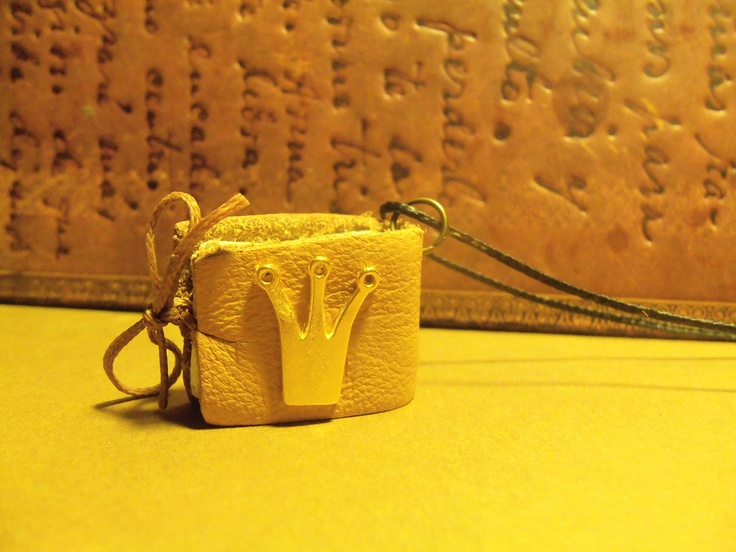 Handmade mini leather book pendant with little golden crown