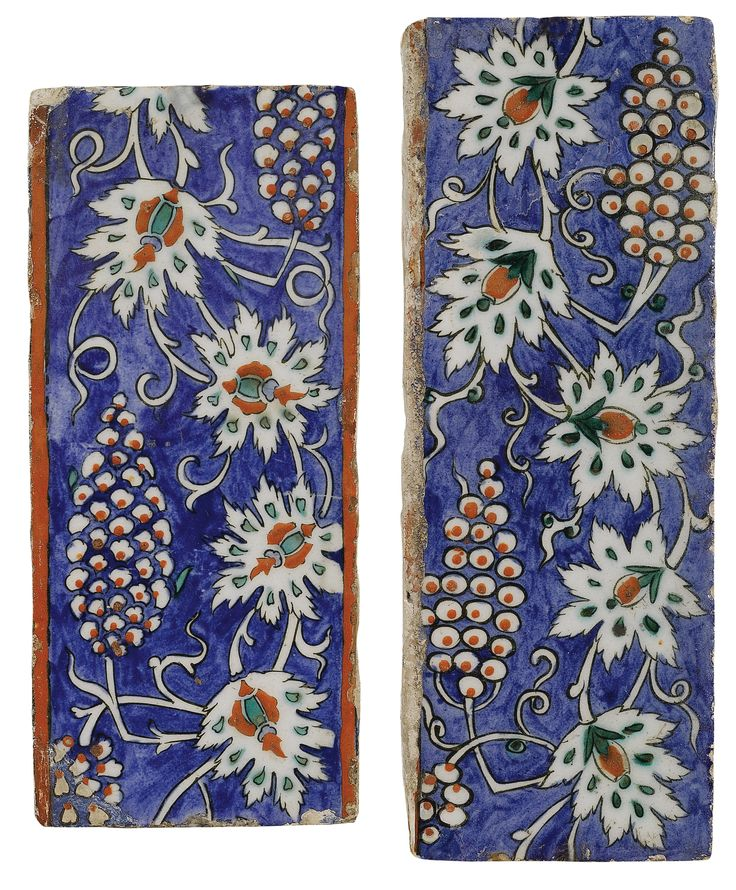 TWO IZNIK POLYCHROME BORDER TILES, TURKEY, CIRCA 1580-85