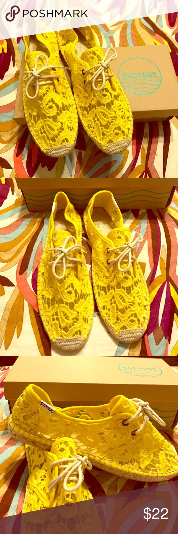 Cute Yellow Lace Soludos Espadrilles- Size 8 NEW Cute Yellow Lacy Soludos Lace Up Flat Espadrilles- Size 8 - NEW IN BOX - Perfect for Spring/Summer and the Beach! Soludos Shoes Espadrilles