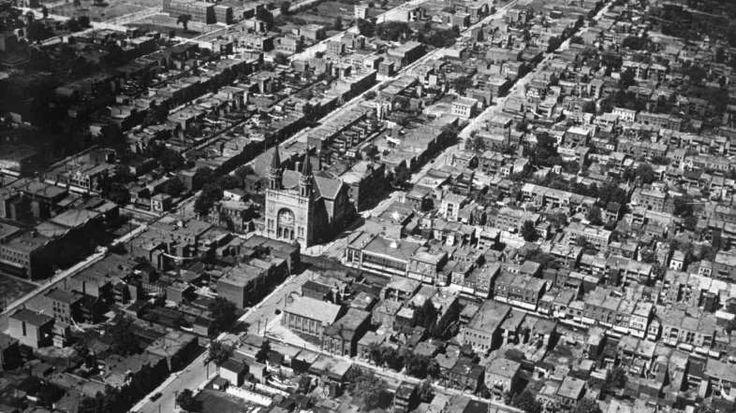 Vue aérienne oblique du secteur de Verdun (1925-1935) - Archives de la Ville de Montréal