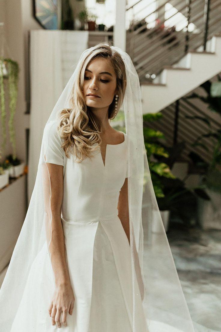 Minimal Classic Modest Short Sleeve Wedding Dress Boat Neck Wedding Dress Modest Wedding Dresses [ 1103 x 736 Pixel ]
