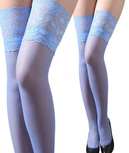 New Fashion High quality Women Sexy Floral Women Lace Hot Top Thigh High Ultra Sheer Stockings Pantyhose Free Shioping 15 Color
