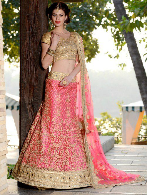 Pink Net Lehenga Choli with Resham Embroidery Work