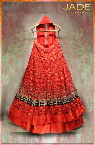red bridal lehenga all over thread work , spanish theme, full flare, classic all over red with black border, intricate motif, modern