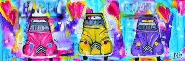 Citroen 2CV 3x schilderij kleurrijk
